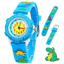 Παιδικά Ρολόγια Χειρός Με Δεινόσαυρο - Ρολόι Δεινόσαυρος Για Αγόρια και Κορίτσια - Γαλάζιο Χρώμα