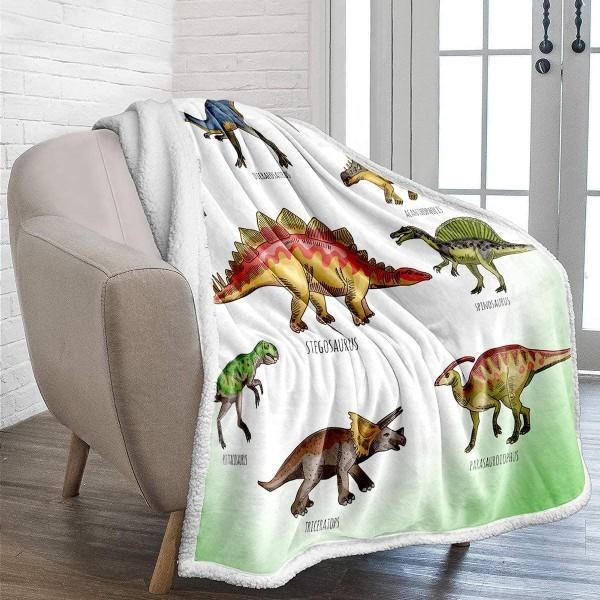 Fleece Κουβέρτα για Κρεβάτι ή Καναπέ - Χρώμα Πράσινο Λευκό με Δεινόσαυρους (150 x 200 εκατοστά)
