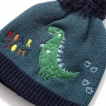 Σετ Σκούφος & Γάντια με σχέδιο δεινόσαυρου - Γκρι/Μαύρο Χρώμα